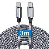 Câble USB C vers USB C 3m, Baiwwa Long Cable USB Type C Charge Chargeur Rapide PD 60W Nylon pour...
