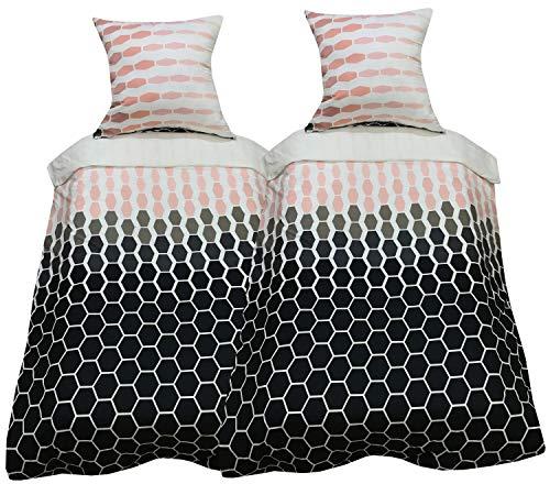 Leonado Vicenti - Bettwasche 135x200 oder 155x220 Microfaser 4teilig Grau Weiß Gepunktet Schlafzimmer Kissen Bezug Set
