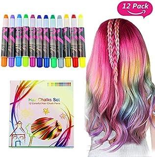 halloween Buluri 12 colores Set de tiza para el cabelloTinte para el cabello plumas de tiza profesionales para el cabello...