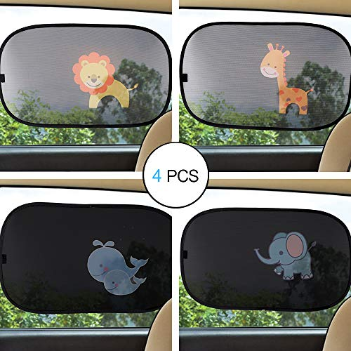 CITIGO Car Window Sun Shade (4 pcs) - Block UV Ray, Lighting and Glare, Protection for Baby and Kids - Cartoon Lion, Elephant, Giraffe and Whales - for Side Windows and Rear Windshield ONLY.