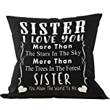 Sister I Love You More Than The Stars in The Sky More Than The Trees Throw Pillow Case, Sister Gifts, Sister Birthday Gifts, 18 x 18 Inch Linen Cushion Cover for Sofa Couch Bed