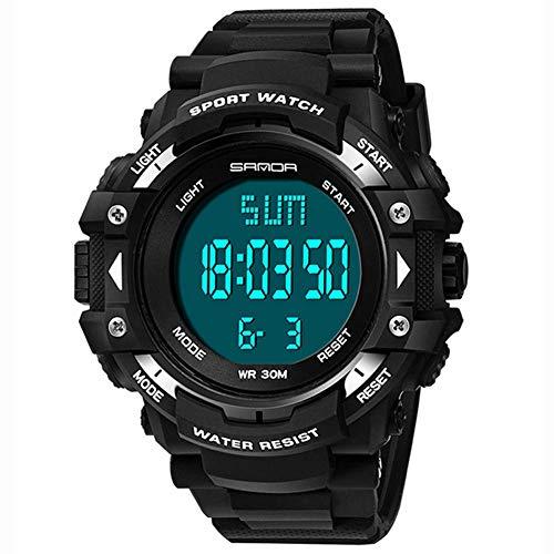 AYDQC Mens Digital Deportes it números Grandes 30M Impermeable del diseño Simple del Ejército Reloj de Pulsera de LED Luz de Fondo Casual Reloj for Hombres de Goma fengong (Color : White)