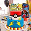 11 pieces poke-mon happy birthday cake toppers pika-chu theme cupcake toppers suitable for birthday decorations for boysand girls, kids' party supplies #2