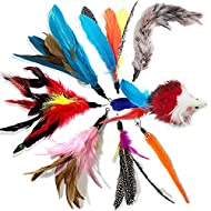 onebarleycorn - Cat Toys Feather Refills for Cat Wand Toys Interactive include Replacement Feathers