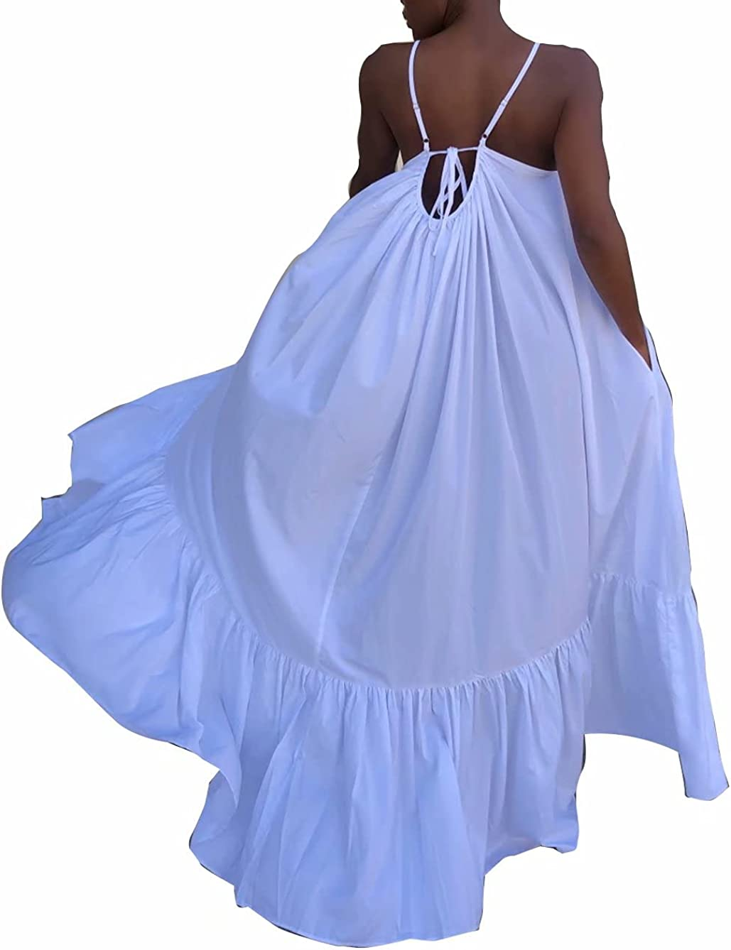 Mintsnow Summer Dresses for Women Spaghetti Strap Lace Up Ruffle Hem Loose Party Beach Flowy Maxi Dress with Pocket