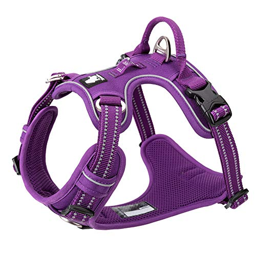 Chai's Choice Dog Harness - New Version with Quick Release Neck Buckle 3M Reflective for Large, Medium, Small Dogs (Medium, Purple) Please Measure Carefully Before Ordering