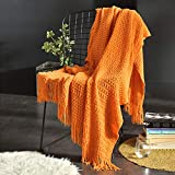 JUDYBRIDAL Knitted Throw Blanket Couch Cover Blanket Textured Solid Decorative Blanket with Tassel for Sofa Bed Travel,50 x 60, Orange