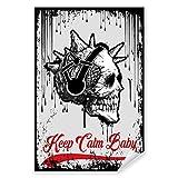 Postereck - 1990 - Hipster Plakat, Keep Calm Baby Totenkopf