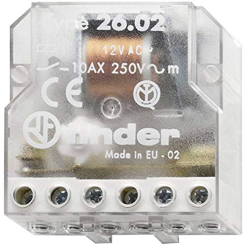 Finder 260280120000 - Telerruptor/interruptor bipolar encastrable 2 NA - AC (50Hz) - 12 V45 x 22 x 47 cm transparente