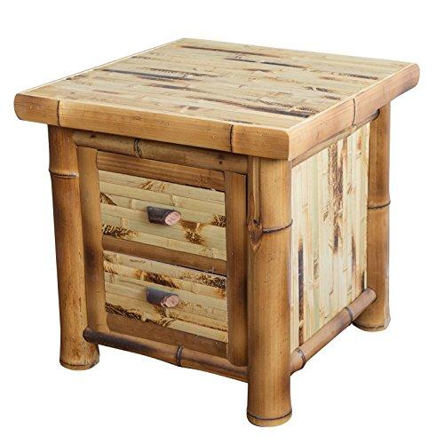 Homestyle4u 337, Nachtschrank Holz Bambus, Nachttisch mit 2 Schubladen, Braun