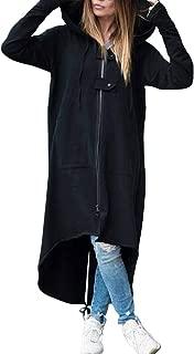 YEMOCILE Women Hooded Long Sleeve Zipper Drawstring Irregular Coat Long Jacket Hoodies Coat