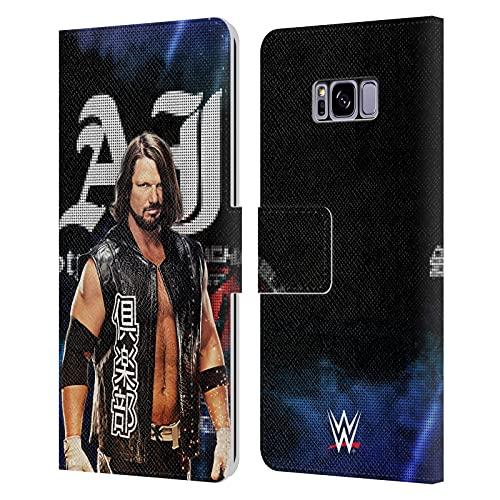 Head Case Designs Oficial WWE Imagen LED Estilos AJ 2017 Carcasa de Cuero Tipo Libro Compatible con Samsung Galaxy S8+ / S8 Plus