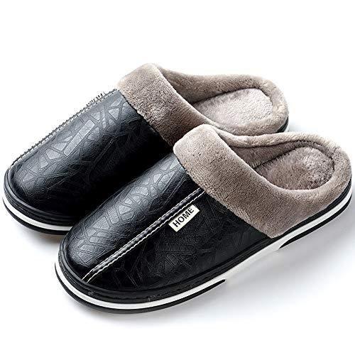 Men's Women's Slippers Foam Memory House Outdoor Indoor Shoes Slip-on Sole Clog Plush Anti-Skid Comfort Fleece Lining Fuzzy Cotton (11.5 Women / 10.5 Men, Black 2)