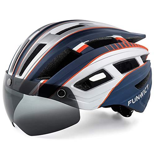 FUNWICT Casco Bicicleta Hombre Casco MTB con Gafas Magnéticas Extraíbles y Forro Interior Casco Bicicleta con Luz Trasera LED para Ciclismo 57-61 CM (Plata Azul)