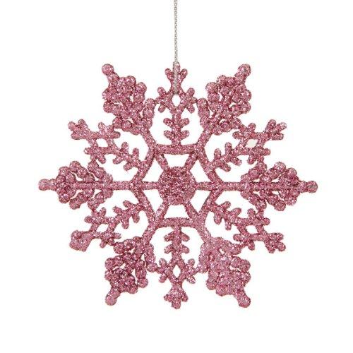 Mauve Pink Glitter Snowflake Christmas Ornaments 4″