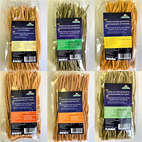 NO-MORE-FOOD-GUILT Nudel von Hand Geschnitten 6er Startpaket Sorten: Glutenfrei, Weniger Kohlehydrate, mehr Eiweiß, Nieder Glykämische Index, Vegan - 6 X 250g