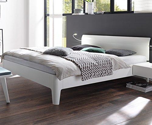 Preisvergleich Produktbild Hasena Fine Line Bett Syma 18 Füße Xylo 20 Kopfteil Vola Buche weiß deckend 180x200