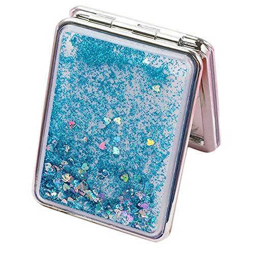 LASISZ Miroir de Maquillage de Poche Pliable de Voyage à 2 côtés avec grossissement Normal / 2X, carré Bleu