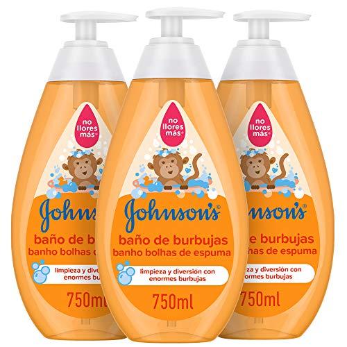 Johnson's Baby Baño de Burbujas para niños, formulado para la piel delicada de los bebés - 3 x 750 ml