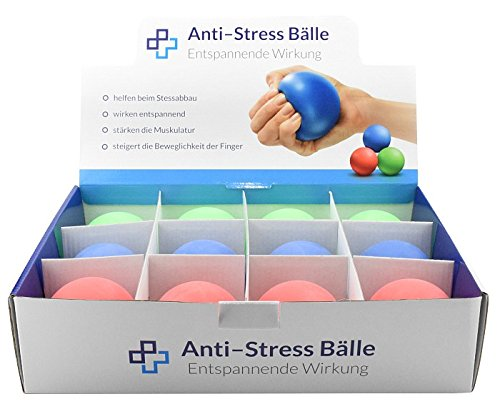 Anti-Stress-Ball Display, 12 Stück, Streßball, Antistressball, Stressball