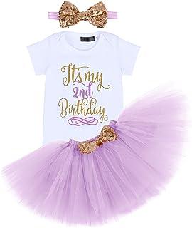 IBTOM CASTLE Neugeborenes Kleinkinder Baby Mädchen Es ist Mein 1. 2. 3. Geburtstagskleid 3 Stück Outfits StramplerPrinzessin Tüll Tütü RockBowknot Stirnband Festkleid Fotoshooting Kostüm