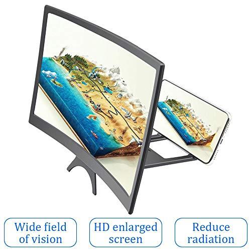 LayOPO 12'' scherm vergrootglas voor mobiele telefoon, 3D HD Curve Screen Amplifier Projector Vergrootscherm Vergroten voor films, video's, anti-straling, met opvouwbare houder staan compatibel, Alle smartphones
