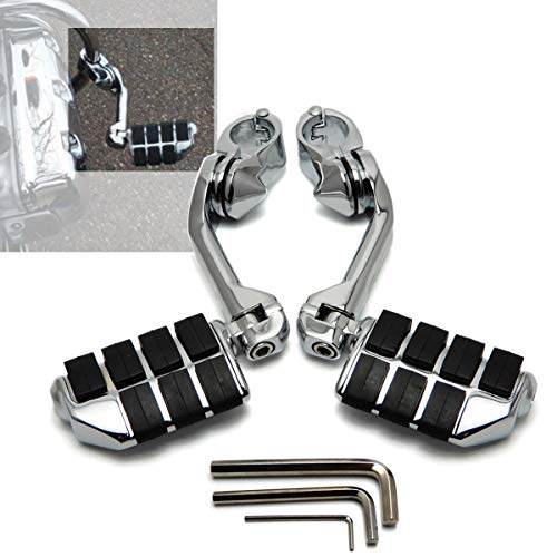 "XFMT Chrome Long Highway Pegs 1-1/4"" Footpegs Compatible with Harley Davidson/Honda/Yamaha/Kawasaki/BSA/Norton/Triumph Bobber,Chopper,Cafe racer,ATV,UTV,Scooter"