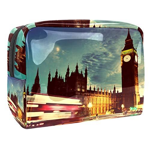Bolsa de maquillaje portátil con cremallera, bolsa de aseo de viaje para mujeres, práctica bolsa de almacenamiento cosmético London The Big Ben Clock Night Scenery