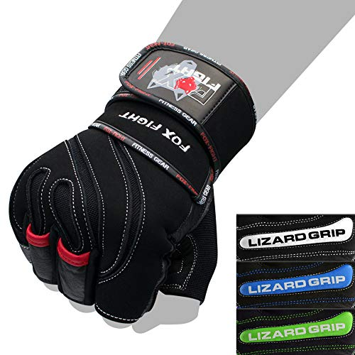 FOX-FIGHT L-Grip Fitness Kraftsporthandschuhe Leder L - schwarz