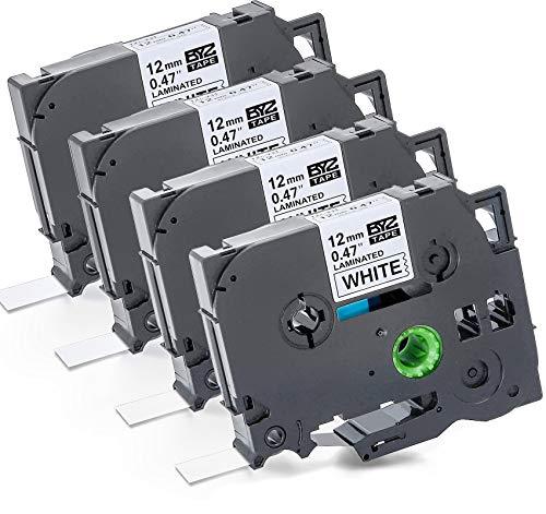 4 Pz Nastro Cassette Etichette 12mm x 8m Nastri per Etichettatura Brother TZ-231 Nero su Bianco Stampanti Compatibile per Tze Tape Brother P-Touch PT-1000 PT-1010 PT-H100R