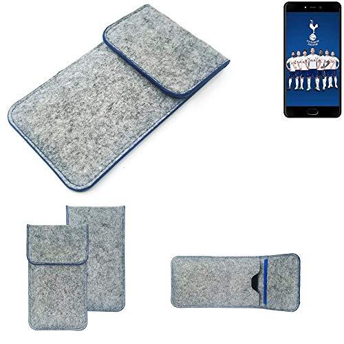 K-S-Trade Filz Schutz Hülle Für Leagoo T5C Schutzhülle Filztasche Pouch Tasche Hülle Sleeve Handyhülle Filzhülle Hellgrau, Blauer Rand