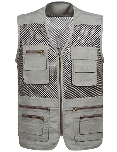 Locachy Men's Summer Outdoor Work Safari Hiking Travel Photo Fishing Vest with Pockets Grey-Mesh XL