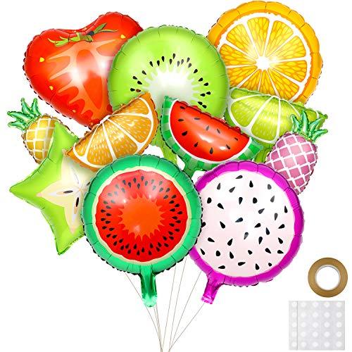 Hsei 30 Piezas de Globos de Papel de Aluminio en Frutas Tropicales para Decoración de Fiesta Temática de Frutas de Cumpleaños, 2 Tamaños