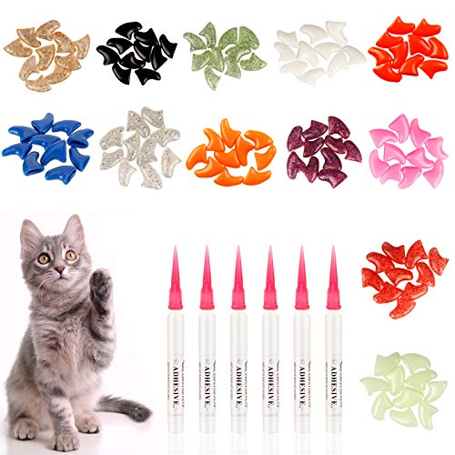 LATTOOK 132Pcs Pet Cat Nail Caps, Soft Claws Nail Covers for Cat Control Paws, 12 Colorful Kitty...