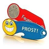 Code24 Einkaufswagenlöser Set 5x Feuerwehr & 5x Prost Smiley, Schlüsselanhänger mit Einkaufschip & Schlüsselfinder, Flaschenöffner-Einkaufswagenchip inkl. Registriercode für Fundservice (10 Stück)