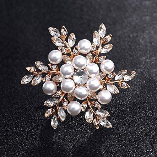 Neaer Broches vintage chapados en oro con diseño de flores para mujer, ramo de diamantes de imitación para boda, alfileres de bisutería, accesorios (Color del metal: oro rosa)