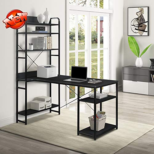 LONCQKEYS Latest Version & Stronger Computer Desk with 5 Storage Shelves & Hutch, 54' Thicken Metal Large Office Desk Home Desk, More Durable Sturdy Writing Table PC Laptop Notebook Desk (Black)