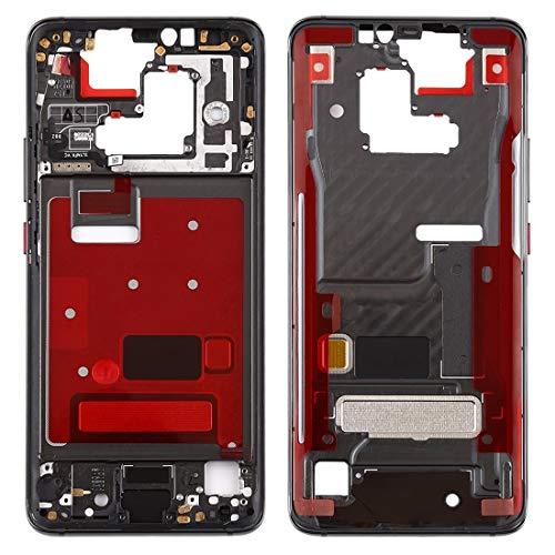 O-OBDO Carcasa frontal de repuesto para teléfono móvil, placa de bisel con teclas laterales para Huawei Mate 20 Pro, pieza de reparación de teléfono celular (color negro)