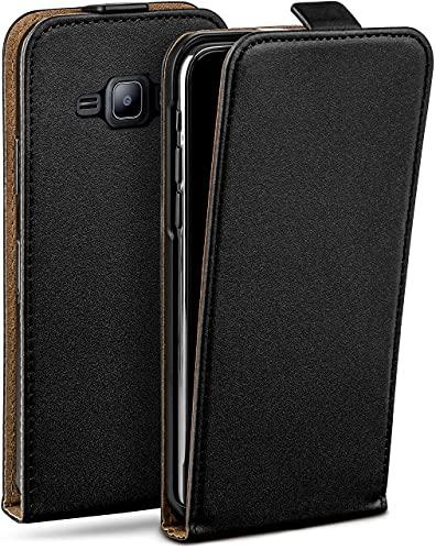 moex Flip Hülle für Samsung Galaxy J1 (2015) - Hülle klappbar, 360 Grad Klapphülle aus Vegan Leder, Handytasche mit vertikaler Klappe, magnetisch - Schwarz