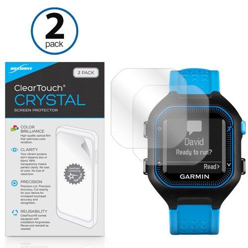 Garmin Forerunner 25 Protetor de tela preto/azul, BoxWave [Cristal ClearTouch (pacote com 2)] Película HD – Protege contra arranhões para Garmin Forerunner 25 Preto/Azul, 25 Preto/Vermelho