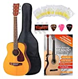 Yamaha JR-1 3/4 Westerngitarre im Set inkl. 5-teiligem Zubehörset (Dreadnought, Farbe: natur, inkl. Gig Bag, Schule, Stimmpfeife, Plektren und 1 Satz Saiten)