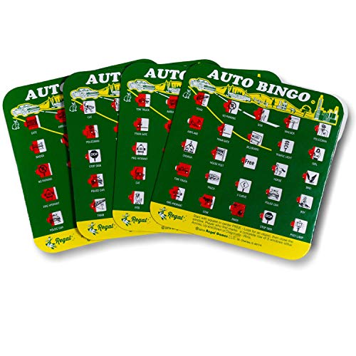 Green Auto Backseat Bingo Pack of 4 Bingo Cards Great For Family Vactions Car Rides and Road Trips