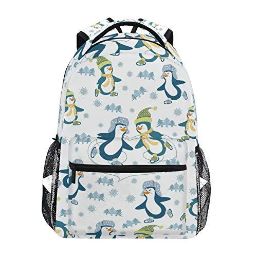 QMIN Sac à dos mignon animal pingouins patinage, école de voyage, université, sac à dos pour ordinateur portable, randonnée, camping, sac à bandoulière pour garçons, filles, femmes, hommes