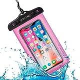 Funda Impermeable Móvil Universal IPX8 con Bolsa Sumergible Agua Estanca Acuática Playa | iPhone 12 XR XS X SE 11 9 8 7 6s Plus Samsung S20 plus A71 Xiaomi Mi 10 Huawei P30 BQ Aquaris (Rosa)