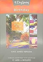 Dayspring Birthday カラフルな風景 12箱入りカード KJV (J0383) マルチ