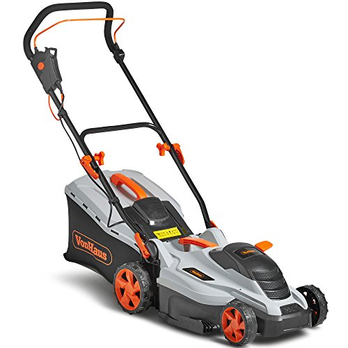 VonHaus Electric Rotary Lawnmower 1600W - 36cm Cutting Width & Adjustable Cutting Height – 50L Grass Collection Box