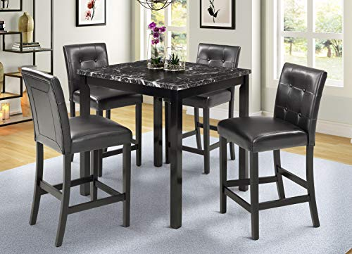 5 Piece Counter Height Dining Set Kitchen Table Furniture Set with 4 Chairs Dining Room Table and Bar Stools (High Black)