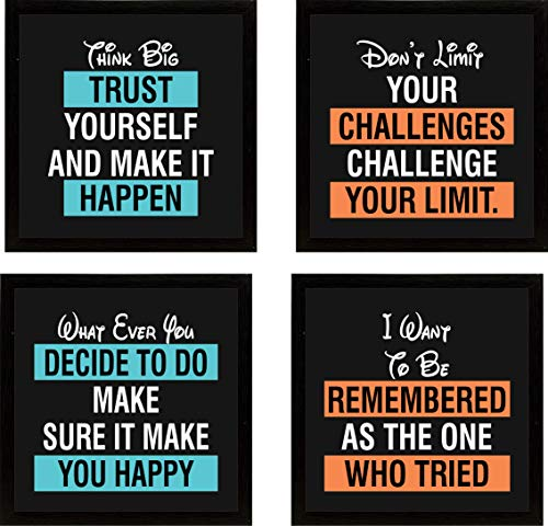 GRAYSTAR Motivational/Inspirational Quote Photo Frame with Unbreakable Glass for Wall, Office, Study Room Decoration 0 x 10 inch - Set of 4