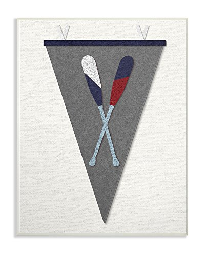 The Stupell Home Decor Collection Pennant Oars Stoffcollage, grau, Wandschild, Kunst, Holz, mehrfarbig, 25,4 x 64,52 x 38,1 cm