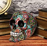 Ebros Gift Day of The Dead Colorful Beads and Floral Blossoms Design Sugar Skull Statue As Decorative Halloween Prop Gothic Haunted Themed Skeleton Cranium Figurine